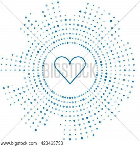 Blue Line Heart Icon Isolated On White Background. Romantic Symbol Linked, Join, Passion And Wedding