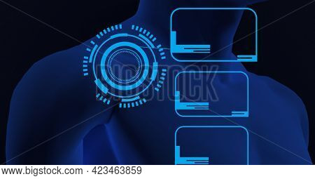 Composition of scope scanning and digital screens over blue human bust. global connections, technology and digital interface concept digitally generated image.