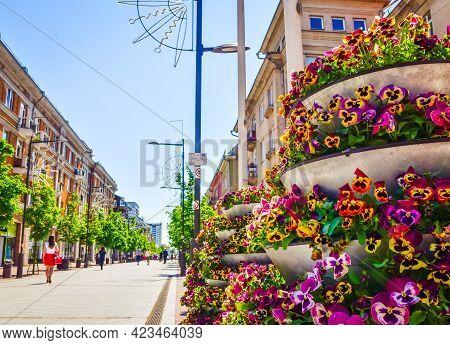 Siauliai City Landmark Boulevard Avenue With People Walking In Sunny Day. Travel Destination Lithuan