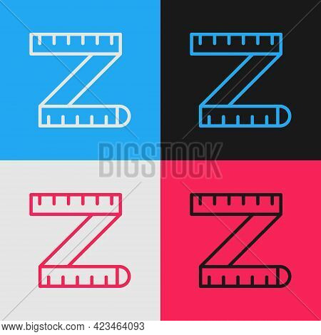 Pop Art Line Tape Measure Icon Isolated On Color Background. Measuring Tape. Vector