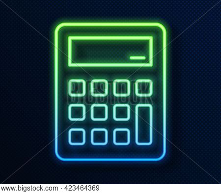 Glowing Neon Line Calculator Icon Isolated On Blue Background. Accounting Symbol. Business Calculati