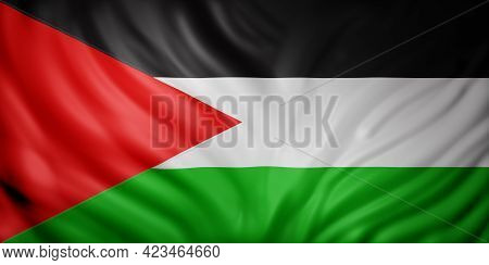 3d Rendering Of A National Palestine Flag