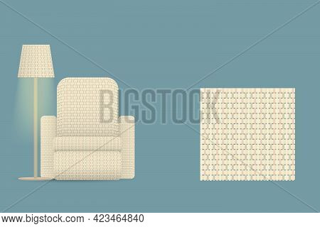 Sofa Woven With Colorful Threads And A Floor Lamp With A Weave Pattern Illustration Pattern Of Weave