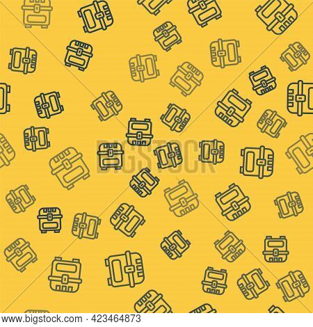 Blue Line Antique Treasure Chest Icon Isolated Seamless Pattern On Yellow Background. Vintage Wooden