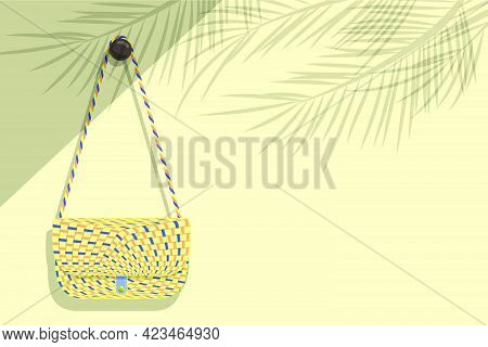 Women's Weave Pattern Shoulder Bag Was Hung On A Light Brown Wall Where Sunlight Poured Into The Roo