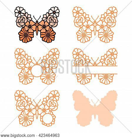 Flower Butterfly Monogram. Vector Insect Silhouette. Template For Laser, Paper Cutting, Printing On