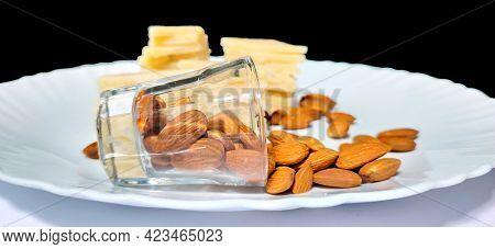 Badam Katli Is A Diamond Shape Indian Sweet With Almonds Made Using Almonds, Sugar And Mava, Served