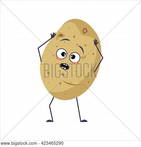 Cute Potato Character With Emotions In A Panic Grabs His Head, Face, Arms And Legs. The Funny Or Sad