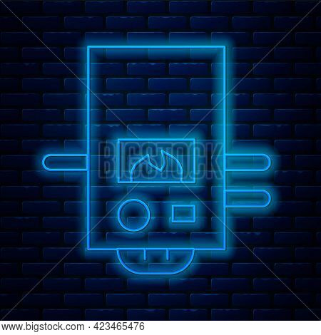 Glowing Neon Line Gas Boiler With A Burning Fire Icon Isolated On Brick Wall Background. Vector