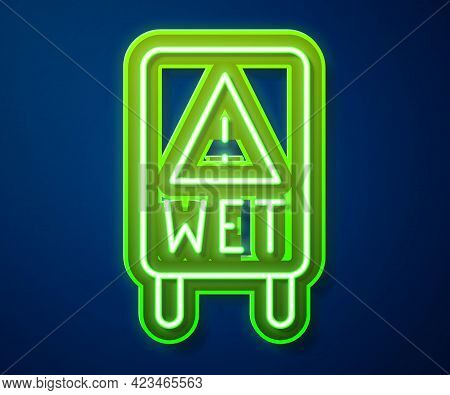 Glowing Neon Line Wet Floor And Cleaning In Progress Icon Isolated On Blue Background. Cleaning Serv