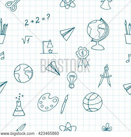 Free Hand Drawing Of School Objects Seamless Pattern On White Background. Back To School. Simple Fla