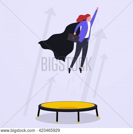 Business Growth, Goal Achievement And Leadership Concept. Superhero Businesswoman Jumping High On A