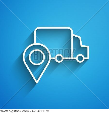 White Line Delivery Tracking Icon Isolated On Blue Background. Parcel Tracking. Long Shadow. Vector