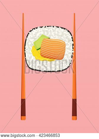 Sushi Roll With Salmon Avocado And Chopsticks. Food Concept, Seafood With Lynx, Japanese Food Sushi