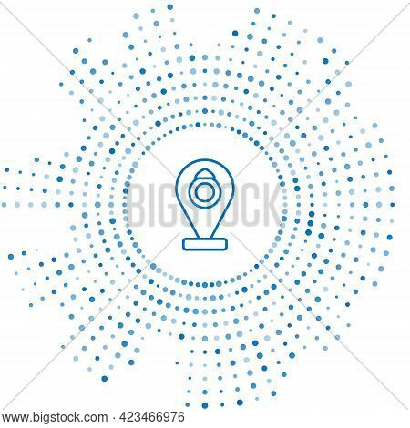 Blue Line Front Facade Building Jewelry Store Icon Isolated On White Background. Abstract Circle Ran
