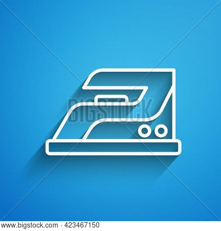 White Line Electric Iron Icon Isolated On Blue Background. Steam Iron. Long Shadow. Vector