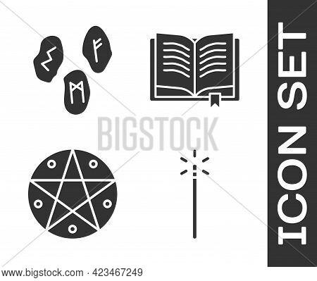 Set Magic Wand, Magic Runes, Pentagram In A Circle And Ancient Magic Book Icon. Vector