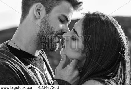Married Couple Kissing Making Love On Honeymoon. Kissing Couple Portrait. Delicate Gorgeous Kiss. Ma