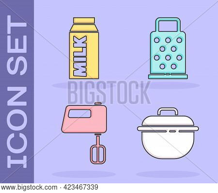Set Cooking Pot, Paper Package For Milk, Electric Mixer And Grater Icon. Vector