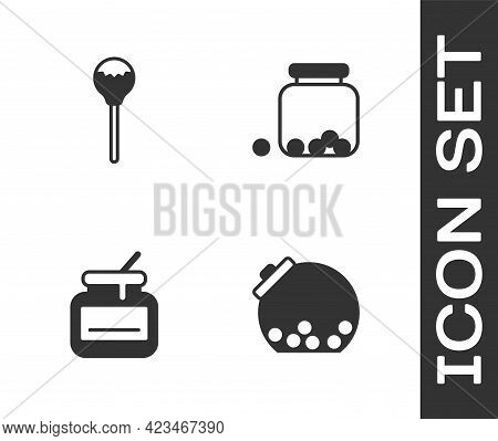 Set Glass Jar With Candies Inside, Lollipop, Jar Of Honey And Icon. Vector