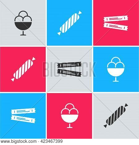 Set Ice Cream In Bowl, Candy And Sugar Stick Packets Icon. Vector