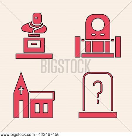 Set Grave With Tombstone, Grave With Tombstone, Grave With Tombstone And Church Building Icon. Vecto