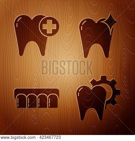 Set Tooth Treatment Procedure, Tooth, Dentures Model And Tooth Whitening Concept On Wooden Backgroun