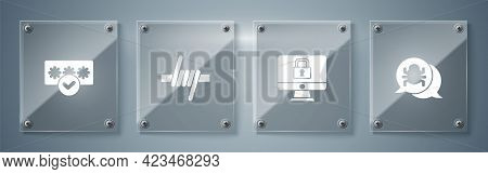 Set System Bug, Lock On Monitor, Barbed Wire And Password Protection. Square Glass Panels. Vector