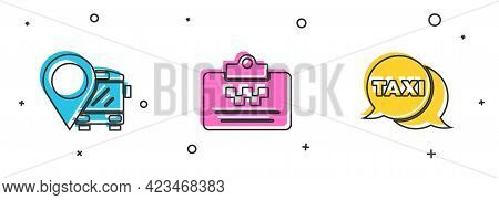 Set Location With Bus, Taxi Driver License And Call Telephone Service Icon. Vector
