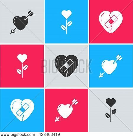 Set Amour With Heart And Arrow, Heart Shape In Flower And Healed Broken Icon. Vector