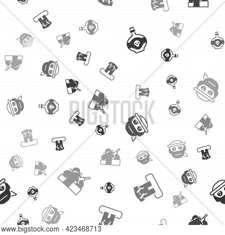 Set Poison In Bottle, Arson Home, Bandit And Murder On Seamless Pattern. Vector