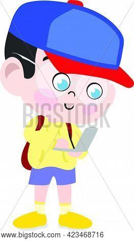 A Cute And Adorable Child Character In Cartoon Style. Kindergarten Preschool Kid Dressed As School K