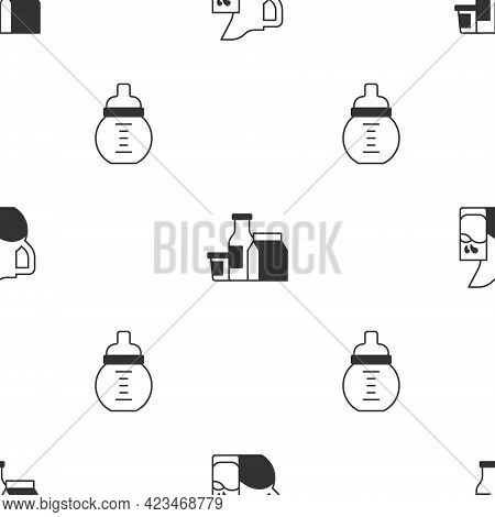 Set Milk Jug Or Pitcher And Glass, Product And Baby Milk In Bottle On Seamless Pattern. Vector