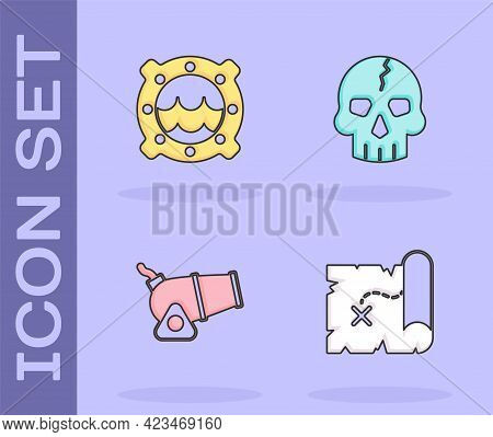 Set Pirate Treasure Map, Ship Porthole With Seascape, Cannon And Skull Icon. Vector