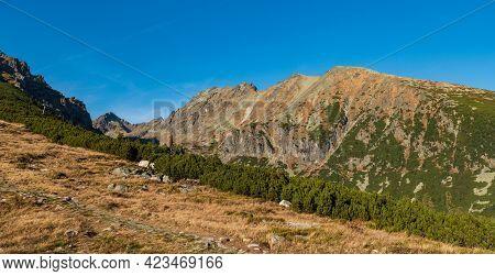 Satansky Hreben And Strbsky Stit Mountain Peak From Hiking Trail Bellow Chata Pod Soliskom In Autumn