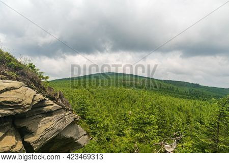Orlik Hill From Trail Bellow Medvedi Vrch Hill In Jeseniky Mountains In Czech Republic During Cloudy