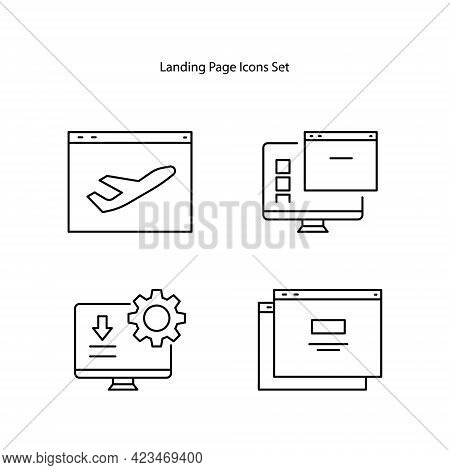 Landing Page Icon Isolated On White Background. Landing Page Icon Thin Line Outline Linear Landing P