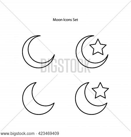 Moon Icons Set Isolated On White Background. Moon Icon Trendy And Modern Moon Symbol For Logo, Web,