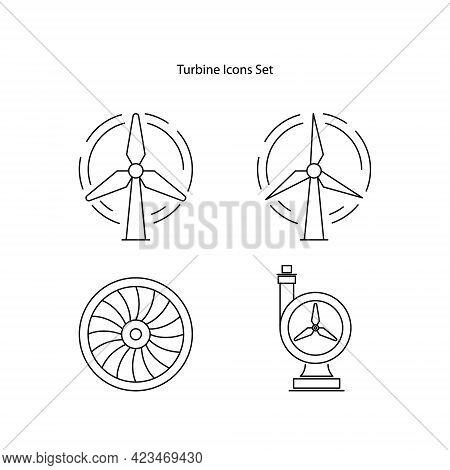 Turbine Icons Set Isolated On White Background. Turbine Icon Thin Line Outline Linear Turbine Symbol