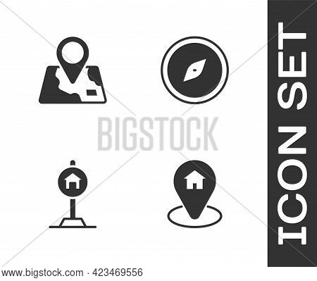 Set Location With House, Folded Map Location Marker, Hotel Sign For Traffic And Compass Icon. Vector