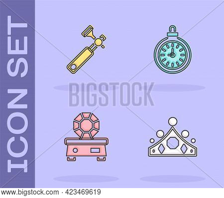 Set King Crown, Jewelers Lupe, Gem Stone And Pocket Watch Icon. Vector