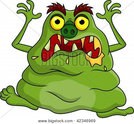 Vector illustration of ugly monster cartoon isolated on white poster