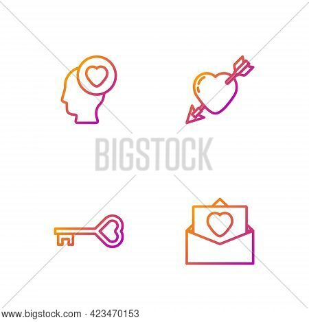 Set Line Envelope With Valentine Heart, Key Shape, Head And Amour And Arrow. Gradient Color Icons. V