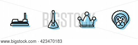 Set Line Jester Hat With Bells, Bumper Car, Balalaika And Wild Lion Icon. Vector