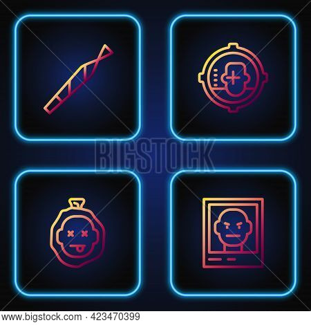 Set Line Wanted Poster, Murder, Marijuana Joint And Headshot. Gradient Color Icons. Vector