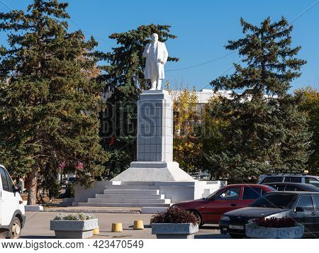 Engels, Russia, October 12, 2020 - Monument To Vladimir Lenin In A Provincial Russian Town