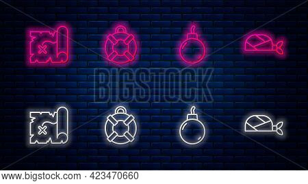 Set Line Lifebuoy, Bomb Ready To Explode, Pirate Treasure Map And Bandana For Head. Glowing Neon Ico