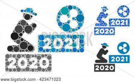 Mosaic Gentleman Pray Ripple 2021 Icon Constructed From Circle Items In Different Sizes, Positions A