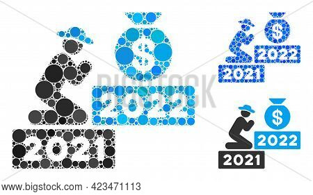 Mosaic Gentleman Pray For Money 2022 Icon Composed Of Round Elements In Different Sizes, Positions A
