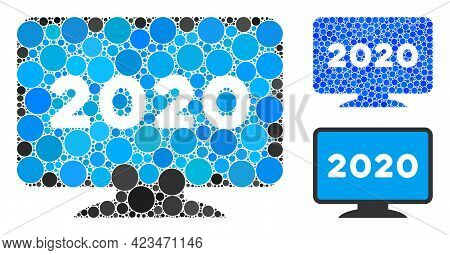 Collage 2020 Display Screen Icon Composed Of Round Elements In Random Sizes, Positions And Proportio